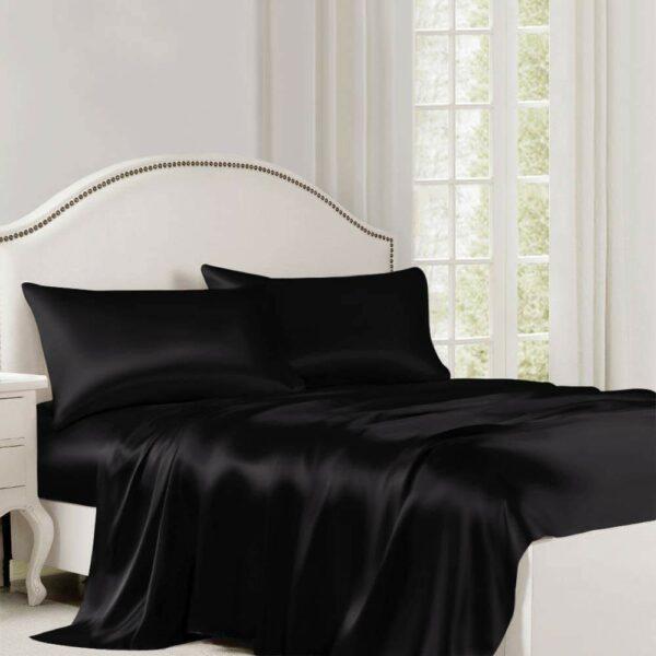 buy black silk flat sheet