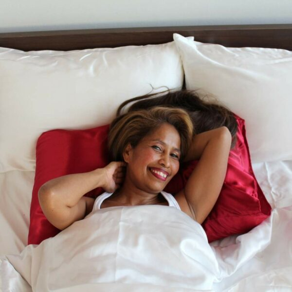 red satin pillowcase