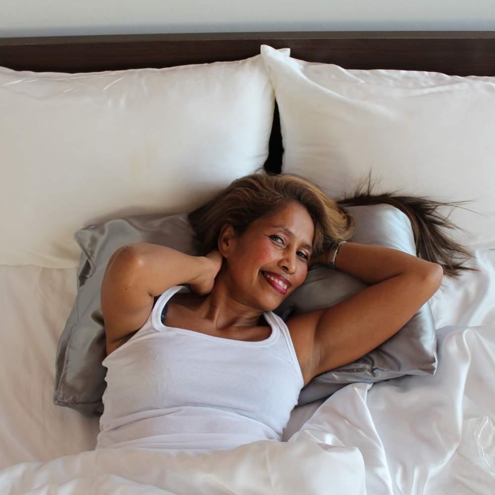 silver satin pillowcase